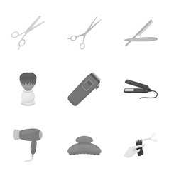 Hairdresser set icons in monochrome style big vector