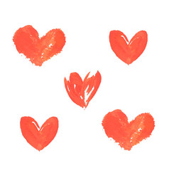 hand painted red hearts grunge brush strokes vector image vector image