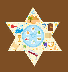 happy passover greeting card with torus menorah vector image vector image