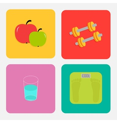 Healthy life style icon set Apple dumbbells water vector image