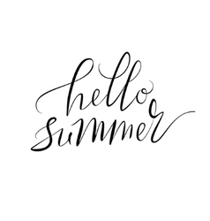 Hello summer hand lettering vector image