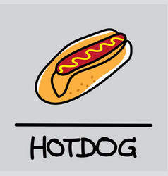 hotdog hand-drawn style vector image vector image