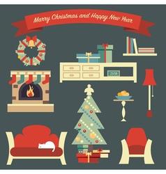 Living room christmas vector