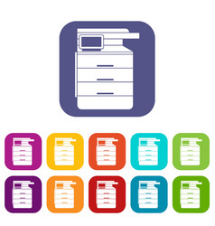 Multipurpose device fax copier and scanner icons vector