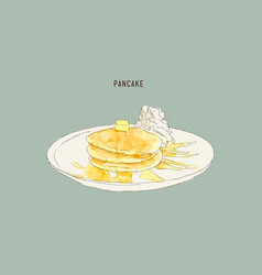 Pancakes with whiped cream and maple syrup sweet vector
