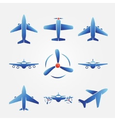 Plane blue icons vector image vector image
