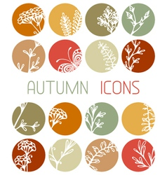 Set of autumn flat icons vector
