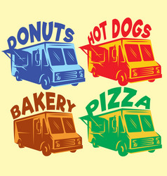 Set of colored foodtrucks with different vector