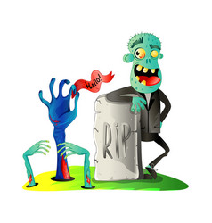 smiling zombie monster on graveyard vector image