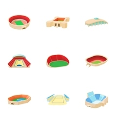 Sports complex icons set cartoon style vector