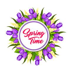 spring floral wreath frame greeting card design vector image vector image