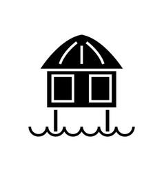 Stilt house icon black sign vector