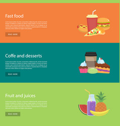 template design horizontal web banners for food vector image