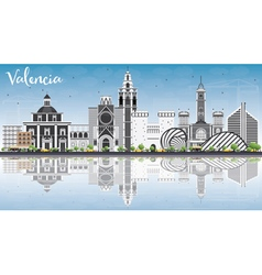 Valencia Skyline with Gray Buildings vector image vector image