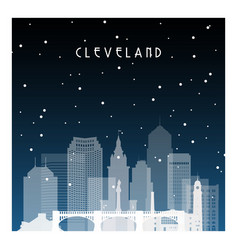 winter night in cleveland night city in flat vector image