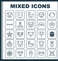 Zoo icons set collection of serpent puppy vector