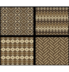 Set of four knitted swatches with fair isle vector