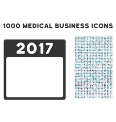 2017 year calendar template icon with 1000 medical vector