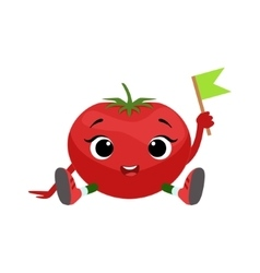 Big eyed cute girly tomato character sitting vector