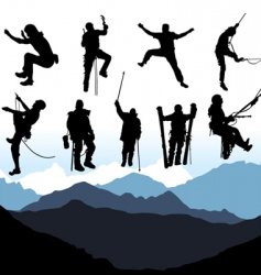 Climbers and mountain set vector