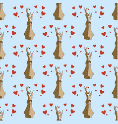 Hares in love seamless pattern vector