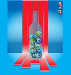 Bingo balls in a glass bottle over stripes vector