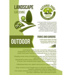 Gardens and parks landscape design poster vector