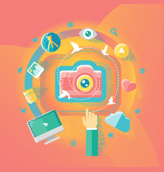 Photography and internet vector