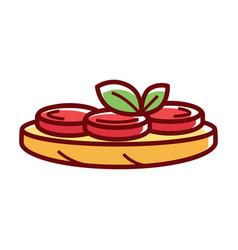 Delicious pizza with tomatoes and herbs isolated vector