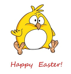 Fat yellow chicken wishing you happy easter vector