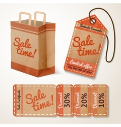 Sale items cardboard set vector