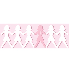 Breast cancer awareness paper doll chain vector