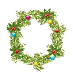 Christmas wreath with holly berries vector
