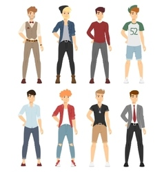Beautiful cartoon fashion boy models look vector