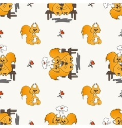 Seamless pattern with loved squirrel vector