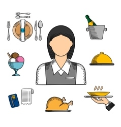 Waitress and restaurant color icons vector image
