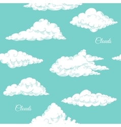 Seamless pattern with clouds sketches vector