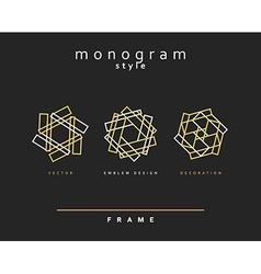 Set of elegant monogram emblem design vector