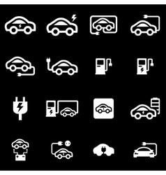 White electric car icon set vector