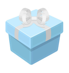 a blue gift box with a bowgifts and certificates vector image vector image