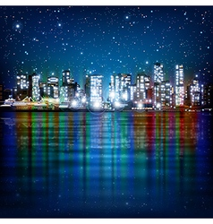 Abstract panoramic background with night vector