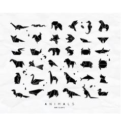animals origami set vector image