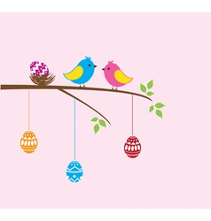 Bird family easter vector