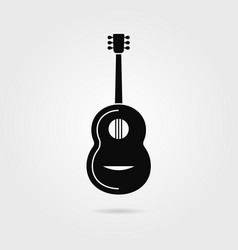 black guitar with shadow vector image vector image