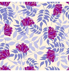 Blue pattern with forest leaves and purple flowers vector image vector image