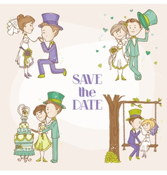 Bride and groom - wedding doodle set vector