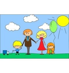 Cartoon family on background vector