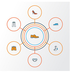 clothes colorful outline icons set collection of vector image vector image
