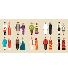 Collection of national costumes vector image