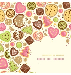 Colorful cookies corner pattern background vector image